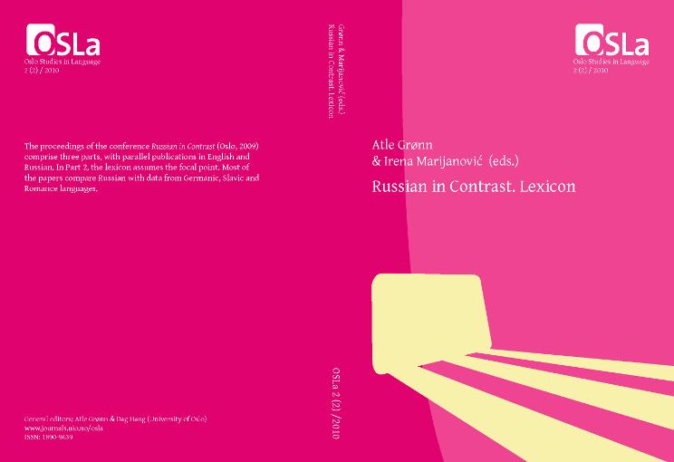 View Vol. 2 No. 2 (2010): Russian in Contrast. Lexicon