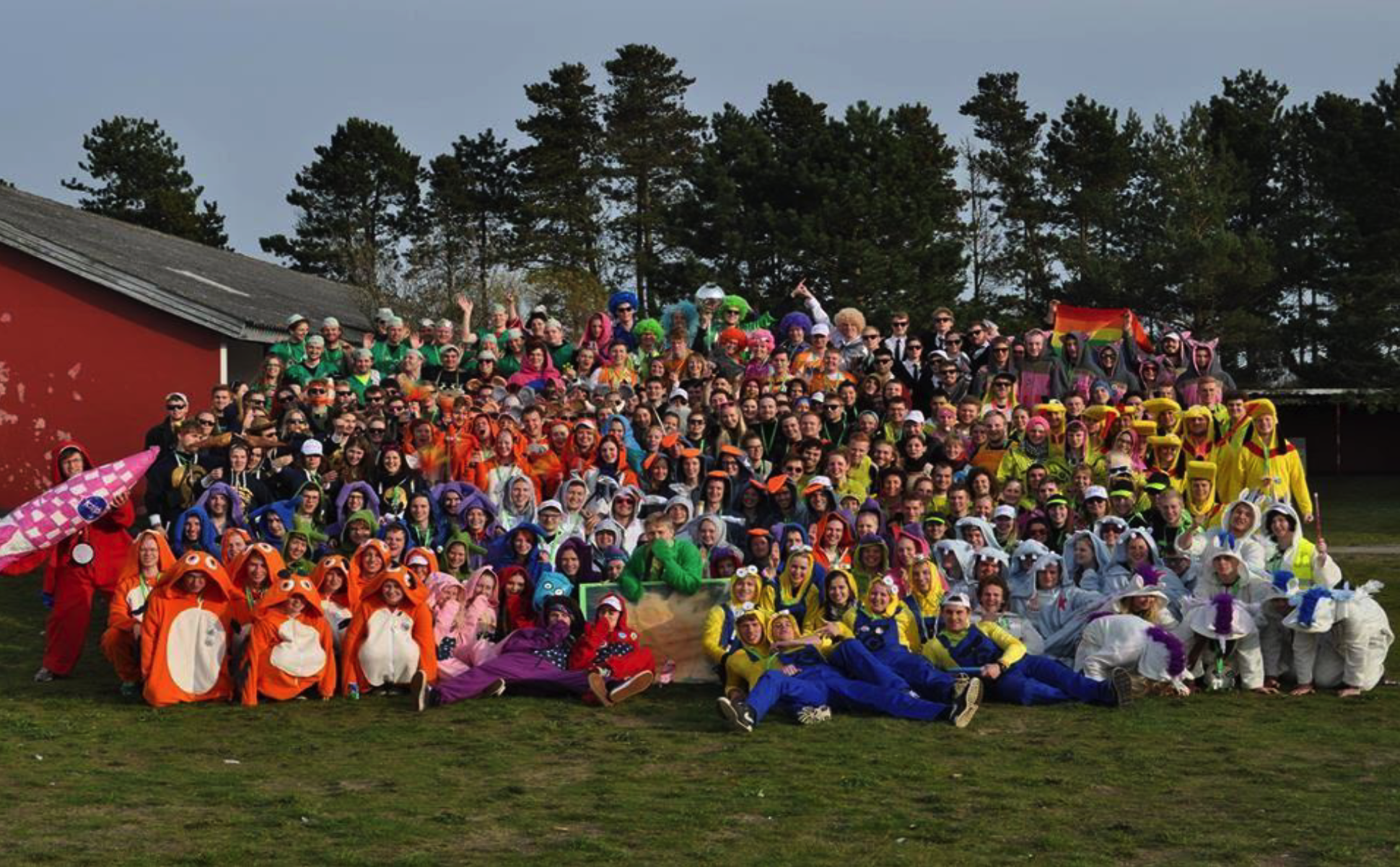 Total group of 300 tutors for managing 6 months of rushing. Different costumes distinguish different interdisciplinary taskforces (2014, with permission from Polyteknisk Forening).